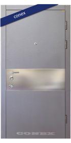 Входная Дверь Conex Модель 88. Серый графит. Декор нерж. Сталь - Город Дверей