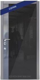 Входная Дверь Conex Модель 96. Чёрная галактика. Декор чёрное стекло - Город Дверей