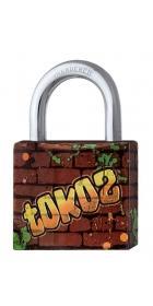 Замок навесной TOKOZ GRAFFITI 40 3KEY TK1 M R shackle 22мм 6,2мм